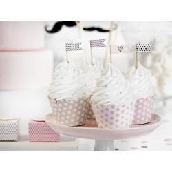 Cápsulas para cupcake de lunares y tonos rosa