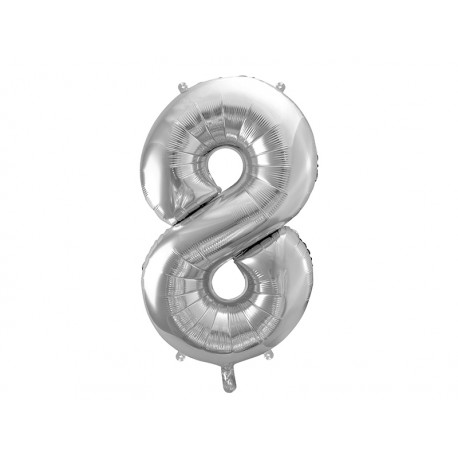 Globo plata de foil de número 8