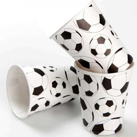 Vasos futbol blanco/negro