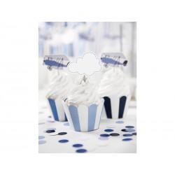 Cápsulas para cupcake azul y blanco