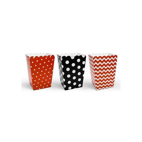 Cajas para palomitas rojo, negro y blanco