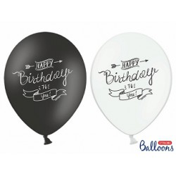 Globos Hppy birthday to you blanco y negro