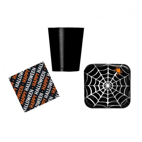 Pack mini halloween negro telaraña