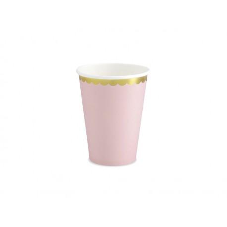 6 Vasos de color rosa y bordes dorados