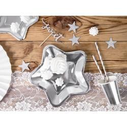 Platos de estrella de color plata