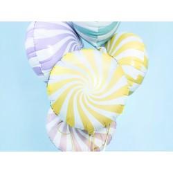 Globo foil candy de 45 cm blaco/amarillo claro
