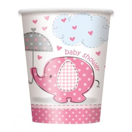 Vasos de Elefante con sombrilla rosa
