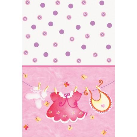 Mantel de ropa de bebe rosa