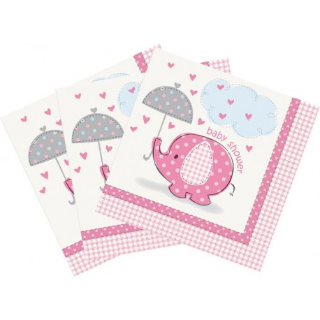 Servilletas de Elefante con sombrilla rosa