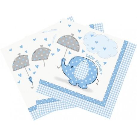 Servilletas de Elefante con sombrilla azul