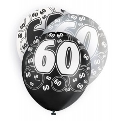Globos 60 Cumpleaños negro/plata