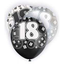 Globos 18 Cumpleaños negro/plata