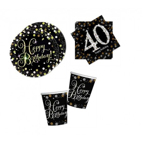 Mini pack Cumpleaños 40 negro/plata para 8