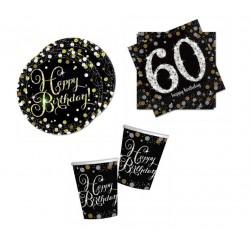 Mini pack Cumpleaños 30 negro/plata para 8