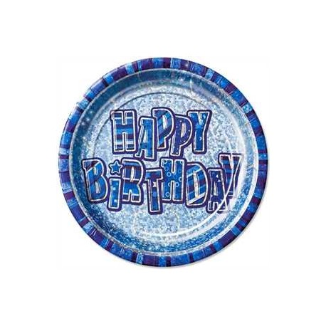 Platos Happy Birthday azul glitz