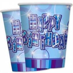 Platos Happy Birthday azul glitz