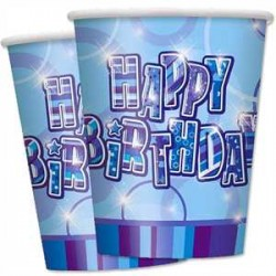 Vasos Happy Birthday azul glitz