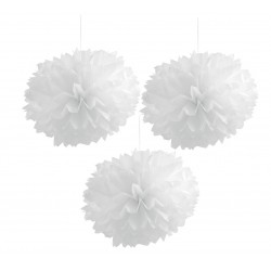 Pompones de color blanco (40 cm)