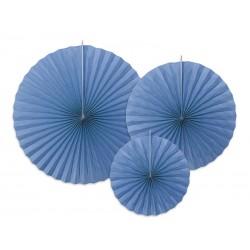 3 Abanicos lisos de color azul