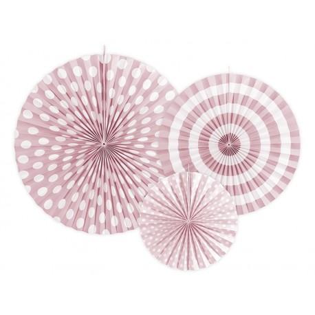 3 Abanicos estampados de color rosa claro