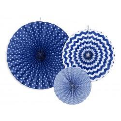 3 Abanicos estampados de color azul marino