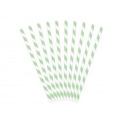 Pajitas de rayas de color verde menta