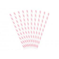Pajitas de rayas de color rosa claro
