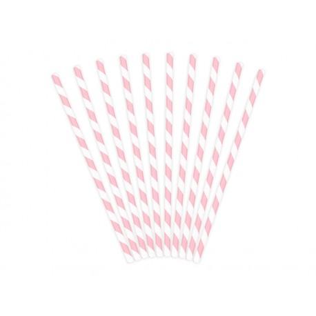 Pajitas de rayas de colorrosa claro