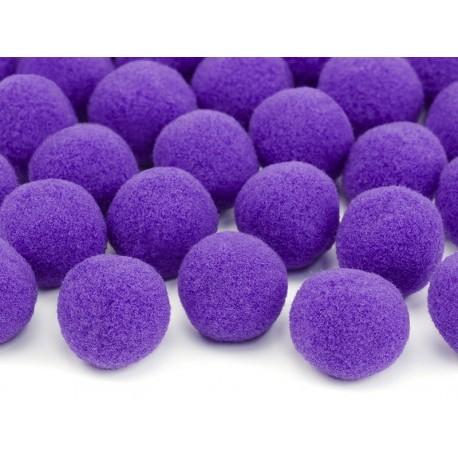 Mini pompones para mesa de color violeta