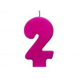 Vela rosa fuerte número 2