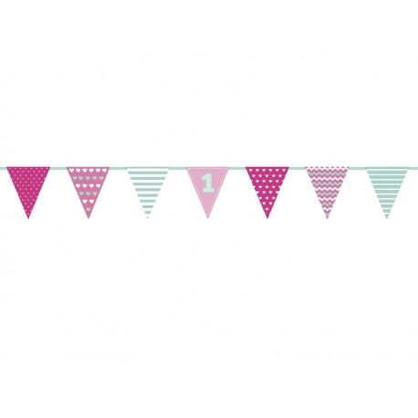 Guirnalda primer cumpleaños rosa y menta