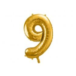 Globo dorado de foil número 9